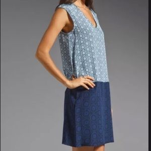 Tibi shift silk dress blue size 4